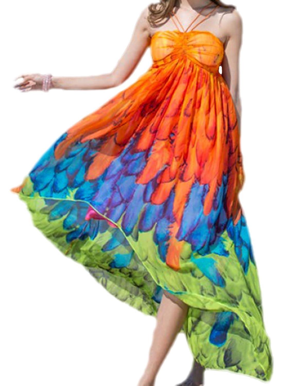 erdbeerloft - Damen luftiges Strand Kleid Tunika asymmetrisch Neckholder mit Federn, XS-M, Viele Farben