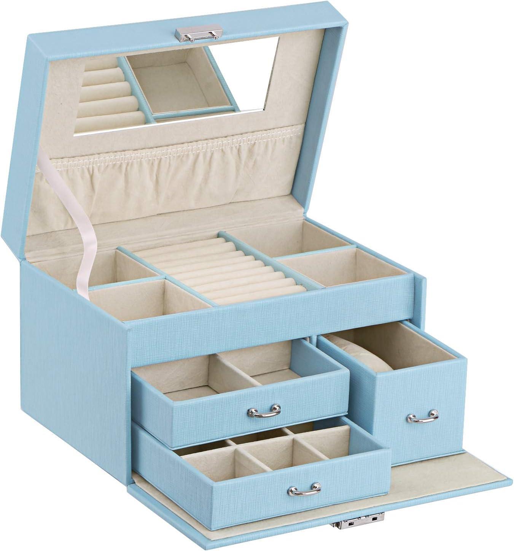 Amazon Com Bewishome 20 Section Girls Jewelry Box Jewelry Organizer With Lock Portable Jewelry Storage Case For Women Girls Kids Blue Ssh78l Home Improvement
