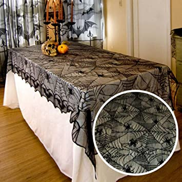 Halloween Tischdecke Tisch Cover Schwarz Spider Spitze Vintage Kunststoff  Schutzhülle Klar Deko Wasserdicht Tischdecke Für Küche