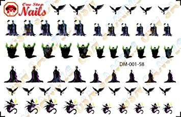 Maleficent Nail Art Decals Tattoo Nail Decal Set Of 58 Dm 001 58 By One Stop Nails