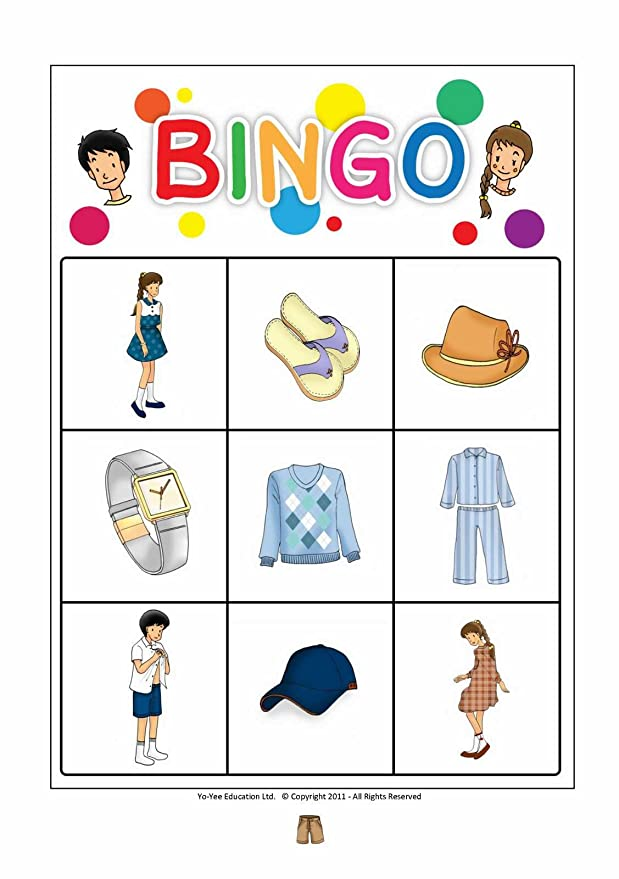 Amazon.com: Clothes Flashcards in Spanish Language - Flash Cards with Matching Bingo Game for Toddlers, Kids, Children and Adults - Size 4.13 × 5.83 in ...