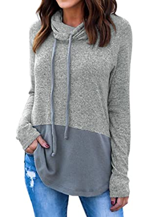 Flying Rabbit Women's Funnel Neck Color Block Fleece Pullover ...