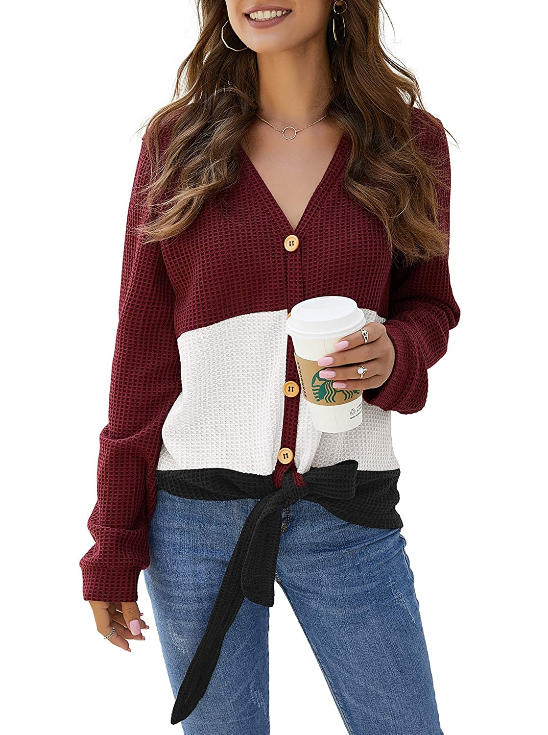 ZJCTUO Womens Tops Long Sleeved Patchwork Color Block Tie Knot V Neck Button Down Cardigan Loose Fit Waffle Knit Tunic Jumpers
