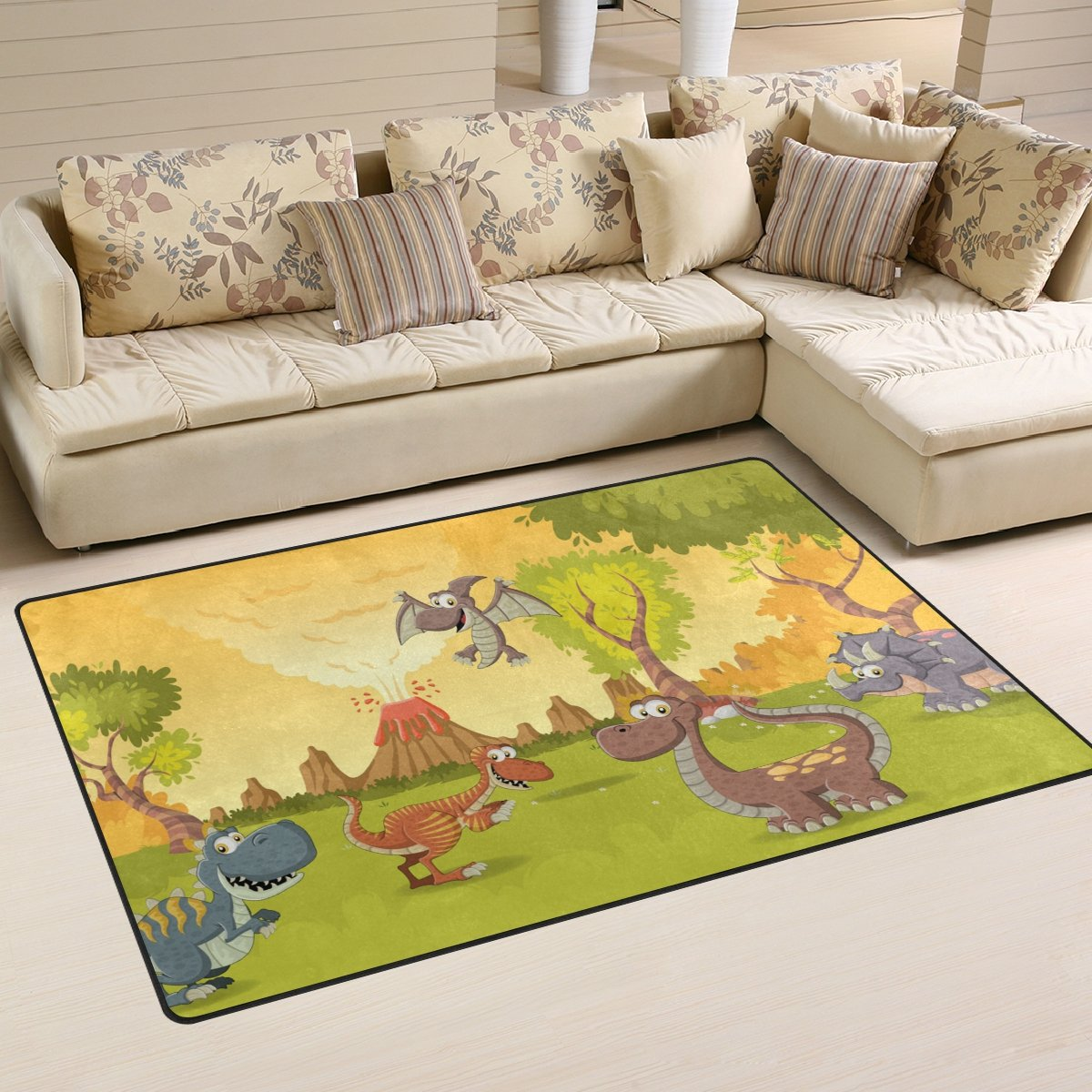 WellLee Area Rug,Forest Volcano Funny Cartoon Dinosaurs Prehistoric Floor Rug Non-Slip Doormat for Living Dining Dorm Room Bedroom Decor 31x20 inch