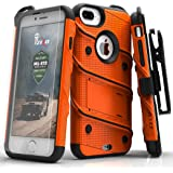 Zizo Bolt 系列兼容 iPhone 8 Plus 手机壳*级跌落测试钢化玻璃屏幕保护膜 iPhone 7 Plus 手机壳1BOLT-IPH7PLUS-ORBK 橙色/黑色