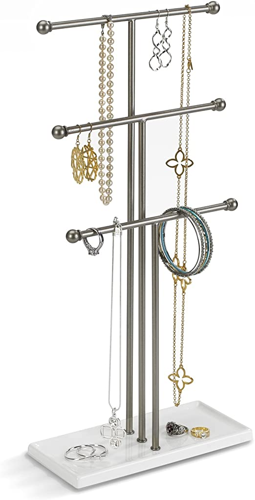 Umbra Trigem Hanging Jewelry Organizer A 3 Tier Table Top Necklace Holder Jewelry Box And Jewelry Display Amazon Ca Home Kitchen