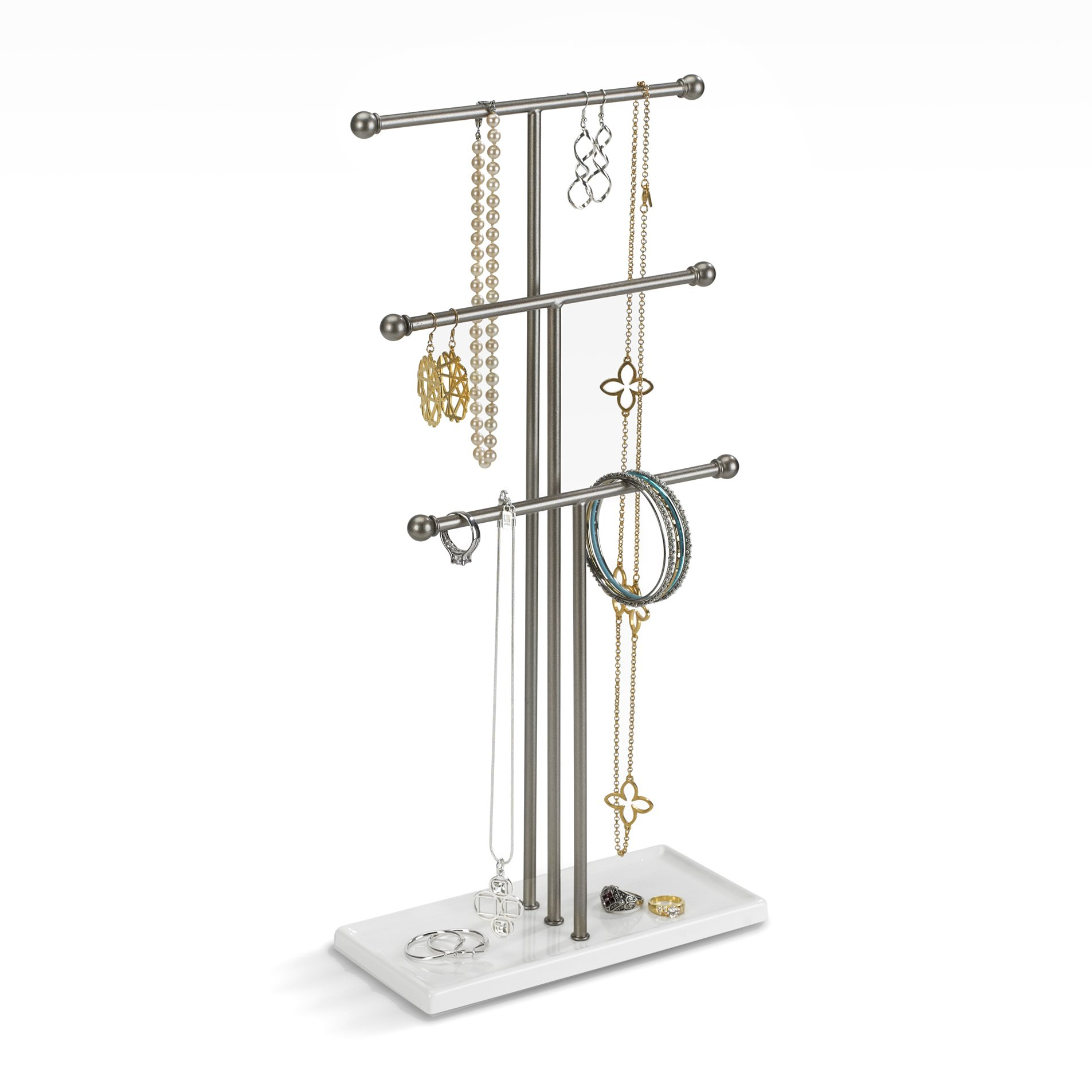 Umbra Trigem Hanging Jewelry Stand – 3 Tier Table Top Necklace Holder and Jewelry Display with Jewelry Tray Base, Organizes Necklaces, Bracelets, Earrings, Rings, Watches, and more, White/Brass