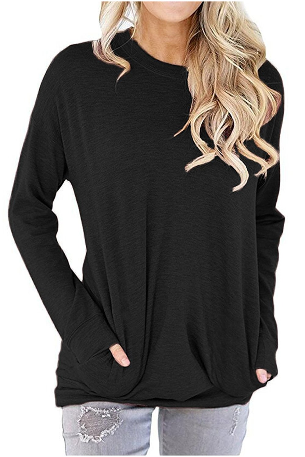 RJXDLT Women's Casual Long Sleeve Round Neck Sweatshirt Loose Soft with Pockets Pullover Blouse Tops Shirt Tunics Dark Black XL
