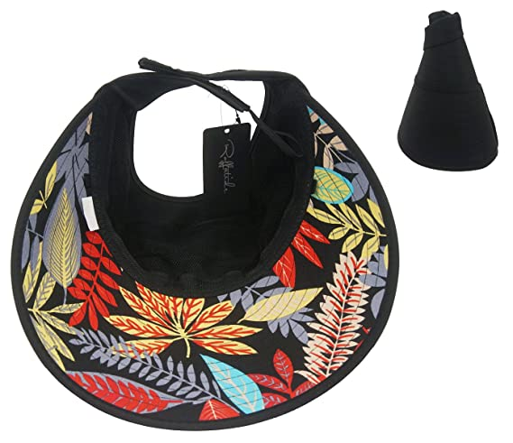 Roffatide Women s Sun Hat with Ponytail Hole Outdoor Sunscreen Visor Wide  Brim Black  Amazon.co.uk  Clothing bcd6e349f600
