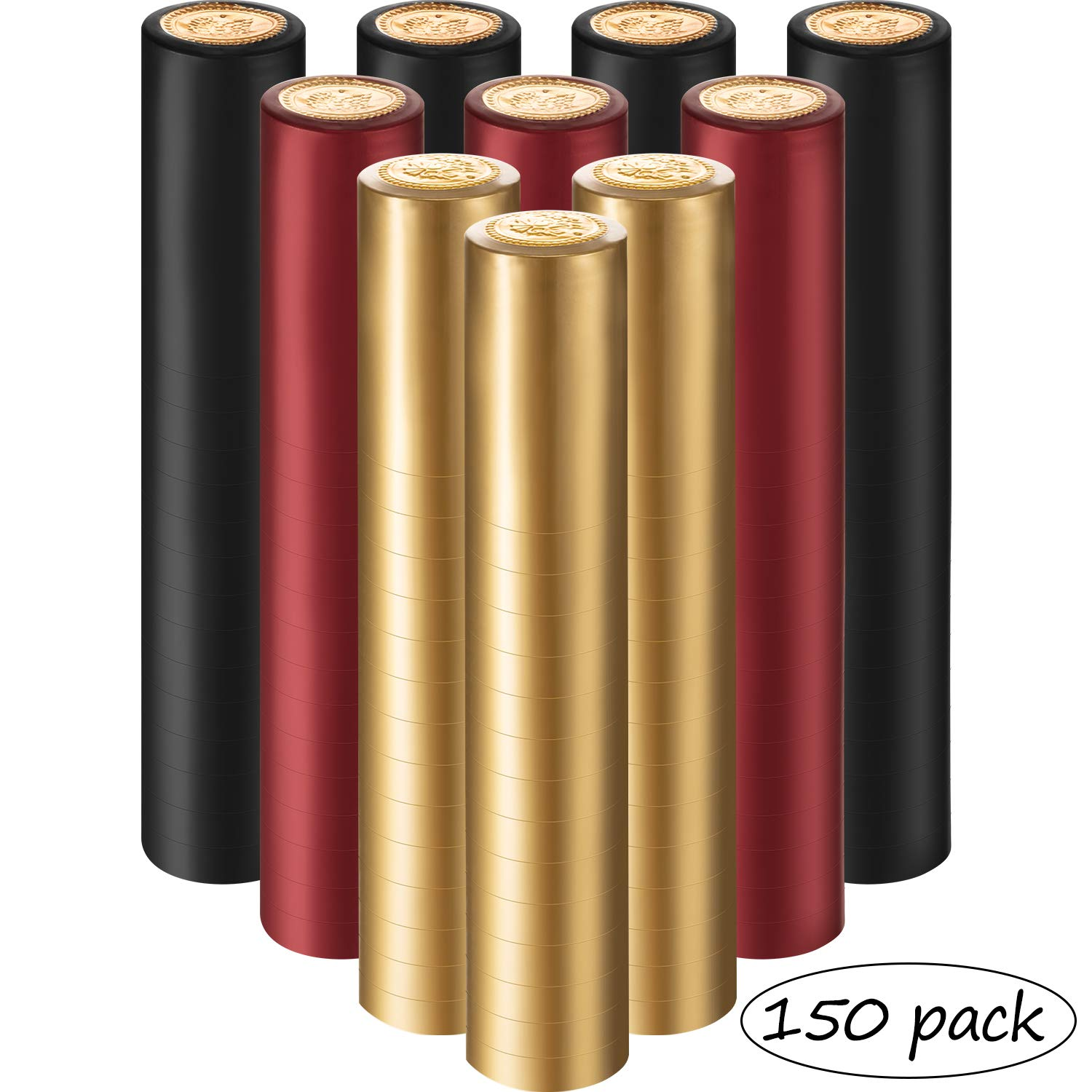 PVC Heat Shrink Capsules Wine Shrink Wrap Wine Bottle Capsules for Wine Cellars and Home Use, 3 Colors (150) by Zonon