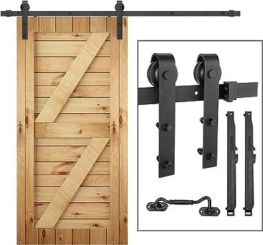 Juego de rieles para puerta corredera de 2 m y pestillo de bloqueo para puerta individual de