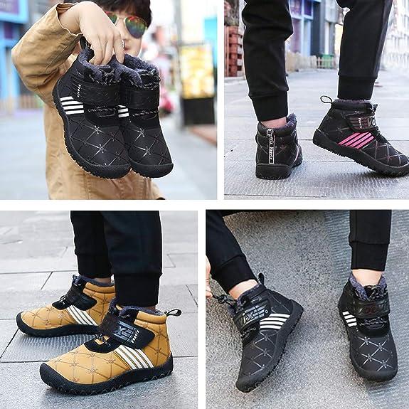 Voovix Bottes de Neige dhiver Enfants Chaussures de Randonn/ée Gar/çon Fille Chaud Antid/érapant L/éger Chaussures de Course de Sport