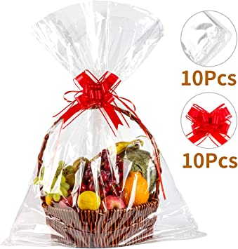Geniusus 30 X40 Clear Basket Bags Clear Cellophane Wrap For Baskets And Gifts With Gift Basket Pull Bows 10pcscellophane Gift Bags 10pcs Gift Basket