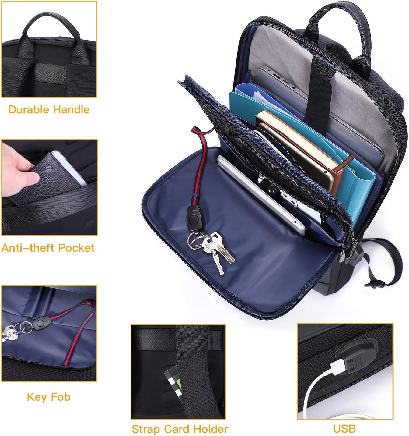 PANFU-US USB Charging Backpack Water-Repellent Slim Business Backpack 360/° Protective Computer Sleeve Carrying Case Color : Blue, Size : 15.6 inch