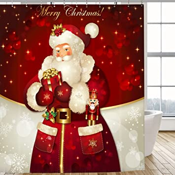 mocoosy santa claus christmas shower curtain polyester fabric with 12 plastic hooks 12 stainless - Christmas Themed Baby Shower