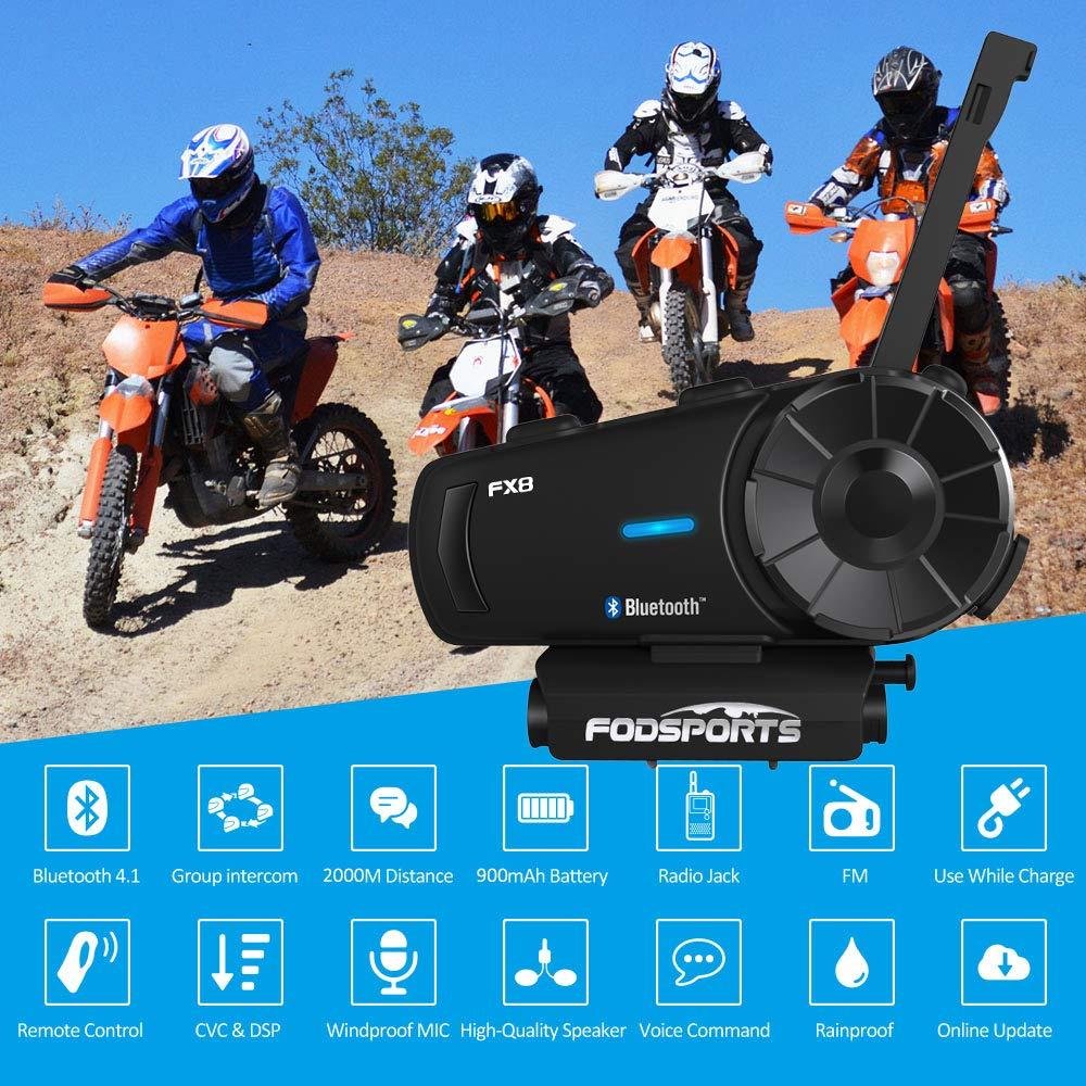 2 pack Fodsports FX8 Intercom Moto casque de Moto casque 8 coureurs groupe parler 2000 m Bluetooth Moto Interphone sans fil BT Interphone avec FM,moto bluetooth Casque Intercomunicador