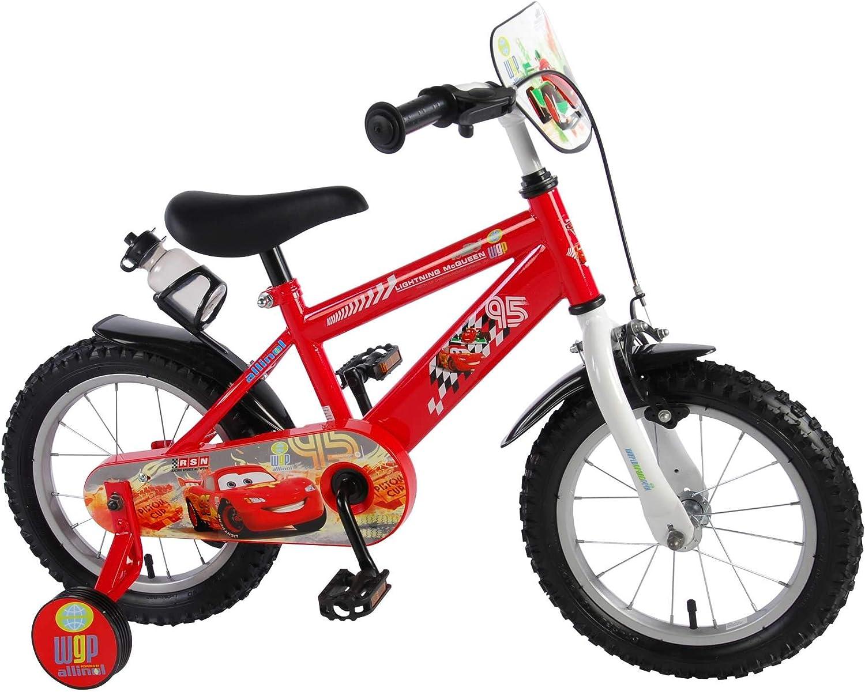 Volare Bicicleta Niño Disney Cars 14 Pulgadas Freno Delantero al Manilar y Traserao Contropedal Ruedas Extraíbles Rojo