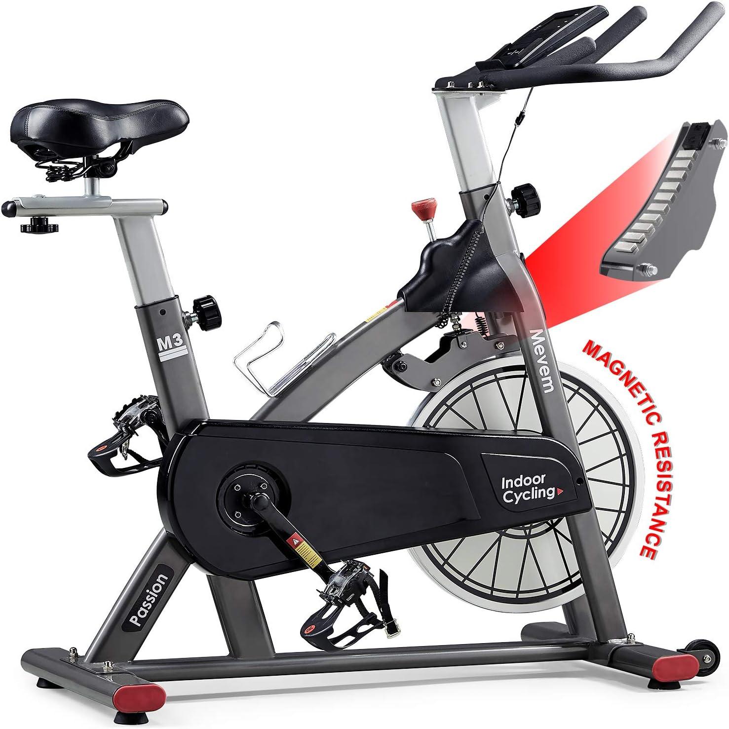 MEVEM Indoor Cycling Bike-Belt Drive Indoor Magnetic Exercise Bike, Indoor Stationary Bike for Home Cardio Gym ...