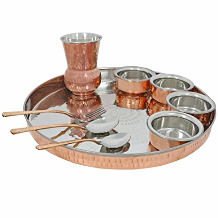 Traditional Dinner Set Copper Thali Plates for Indian Dishes Serving for 2 Person  sc 1 st  Amazon UK & Traditional Dinner Set Copper Thali Plates for Indian Dishes Serving ...