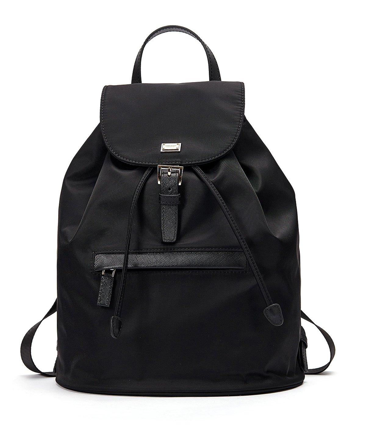 EMINI HOUSE Women's Nylon Backpack Drwastring school Multifunction Backpack-Black