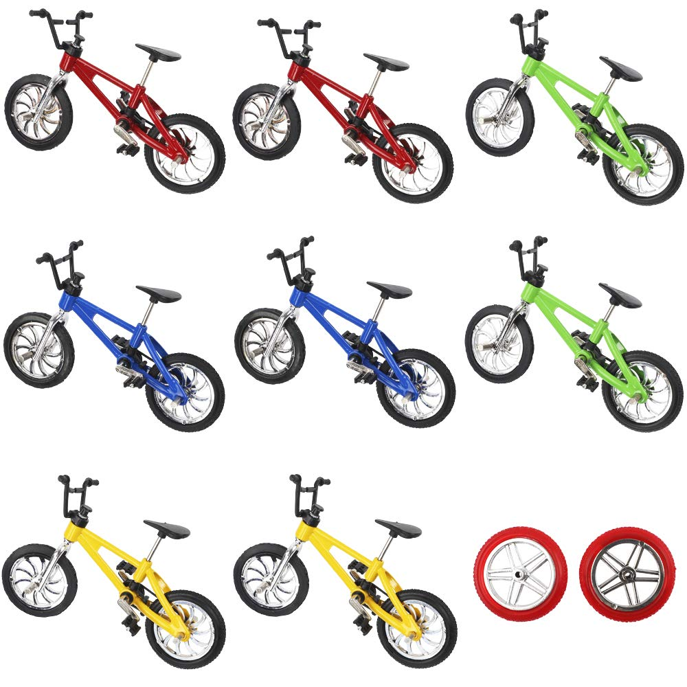 VANKERTER 8pcs Mini Finger Bikes Mini Extreme Sports Finger Bicycle with Accessories Metal Toy Creative Game Gifts by VANKERTER