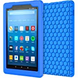 MoKo Case for All-New Amazon Fire HD 8 Tablet (7th Generation, 2017 Release Only) - [Honey Comb Series] Light Weight Shock Proof Soft Silicone Back Cover [Kids Friendly] for Fire HD 8, BLUE