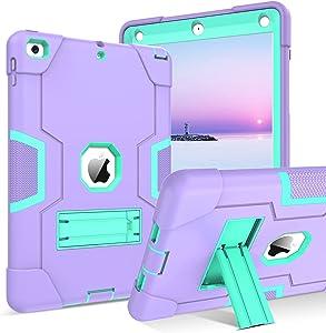 BENTOBEN iPad 6th Generation Case, iPad 5th Generation Case, iPad 9.7 2018 / iPad 9.7 2017 Case,3 in 1 Shockproof Protective Kickstand Hard PC Silicone Protection Girl Women Boy Men Cover,Purple/Green