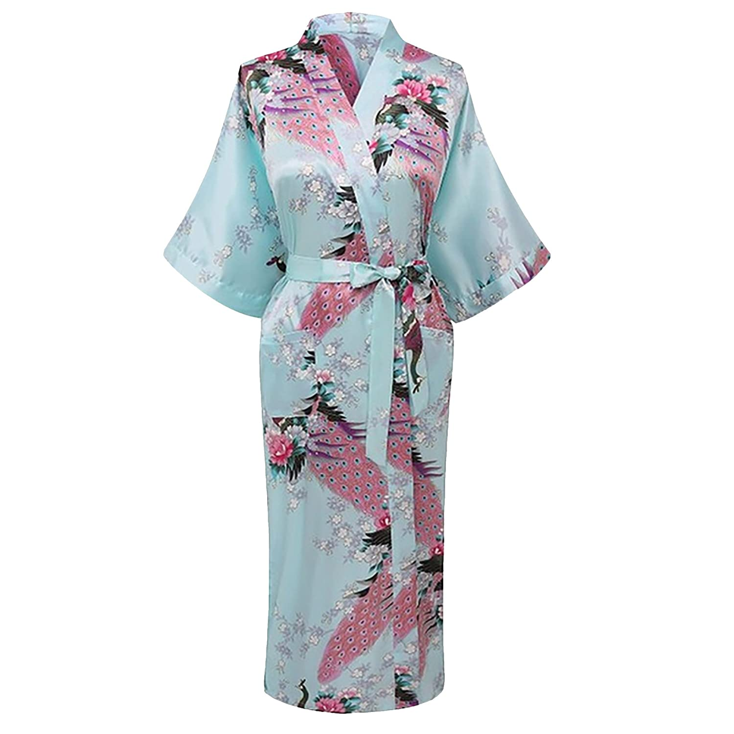 Gifts Are Blue Elegant Long Floral Silk Kimono Womens Robe, Small to 3XL