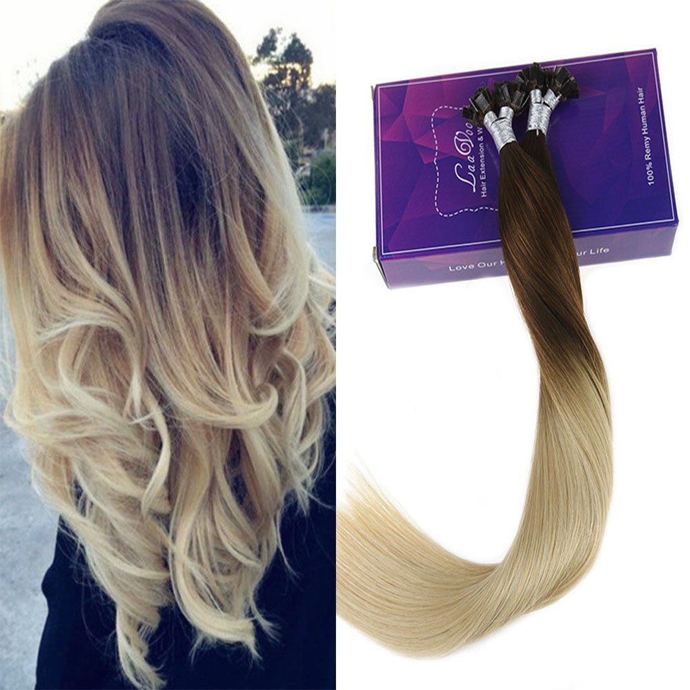 Amazon Laavoo Keratin Hair Extensions 16 Inch Flat Tip Ombre