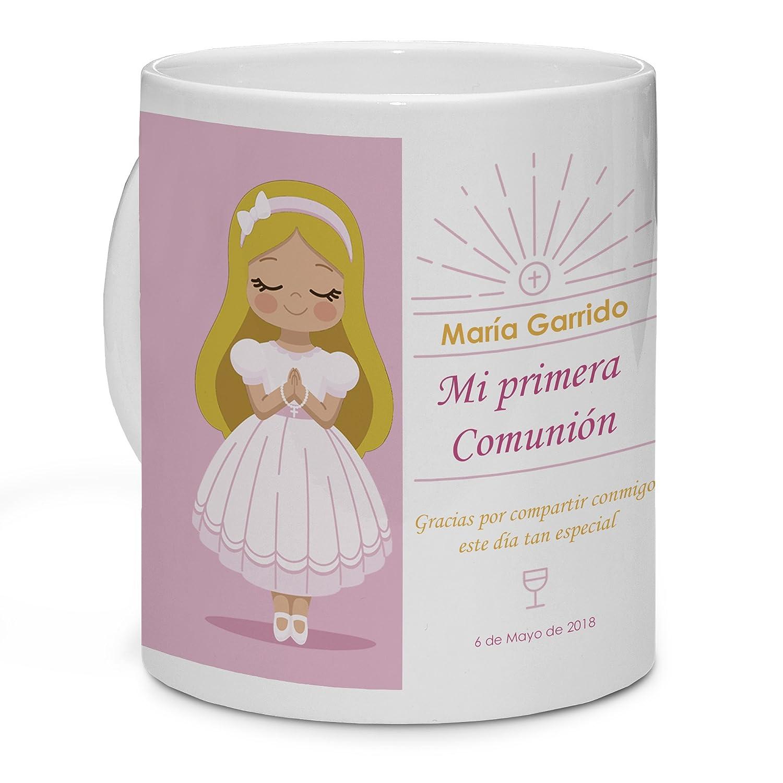 Lolapix Taza Blanca Personalizada Comunión Muñeca Rubia. Personalizada con tu Nombre. Regalo único, Original y Exclusivo, para Comuniones.