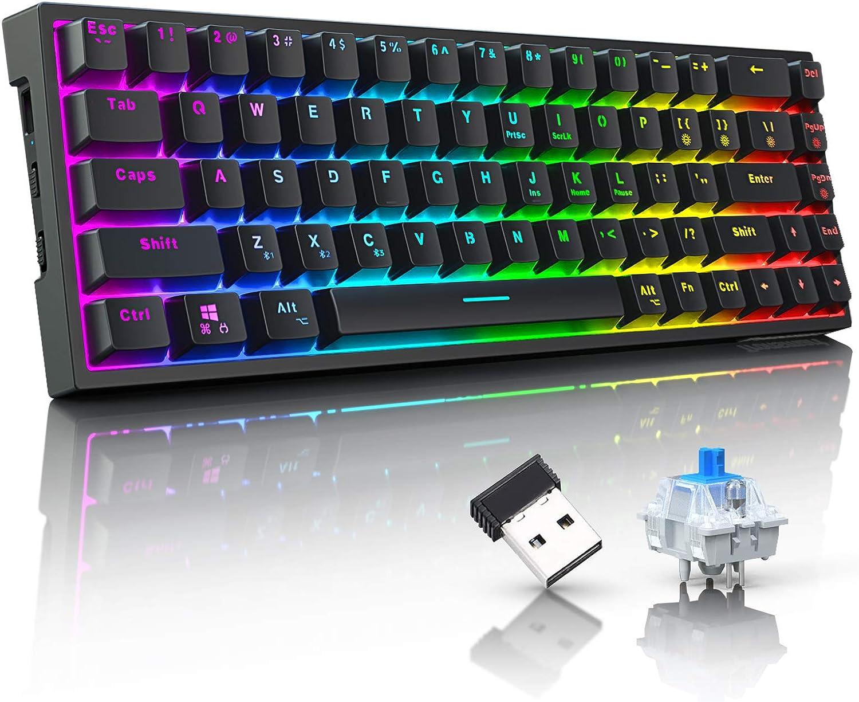 Tronsmart Teclado mecánico inalámbrico RGB, 68 teclas, 100% anti-ghosting, teclado de juego Bluetooth/USB/Tipo C RGB, memoria integrada, cable Type-C ...