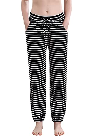Vislivin Women s Stretch Knit Pajama Pants Modal Sleep Pant Black Stripe  Thin S 1211b30ee