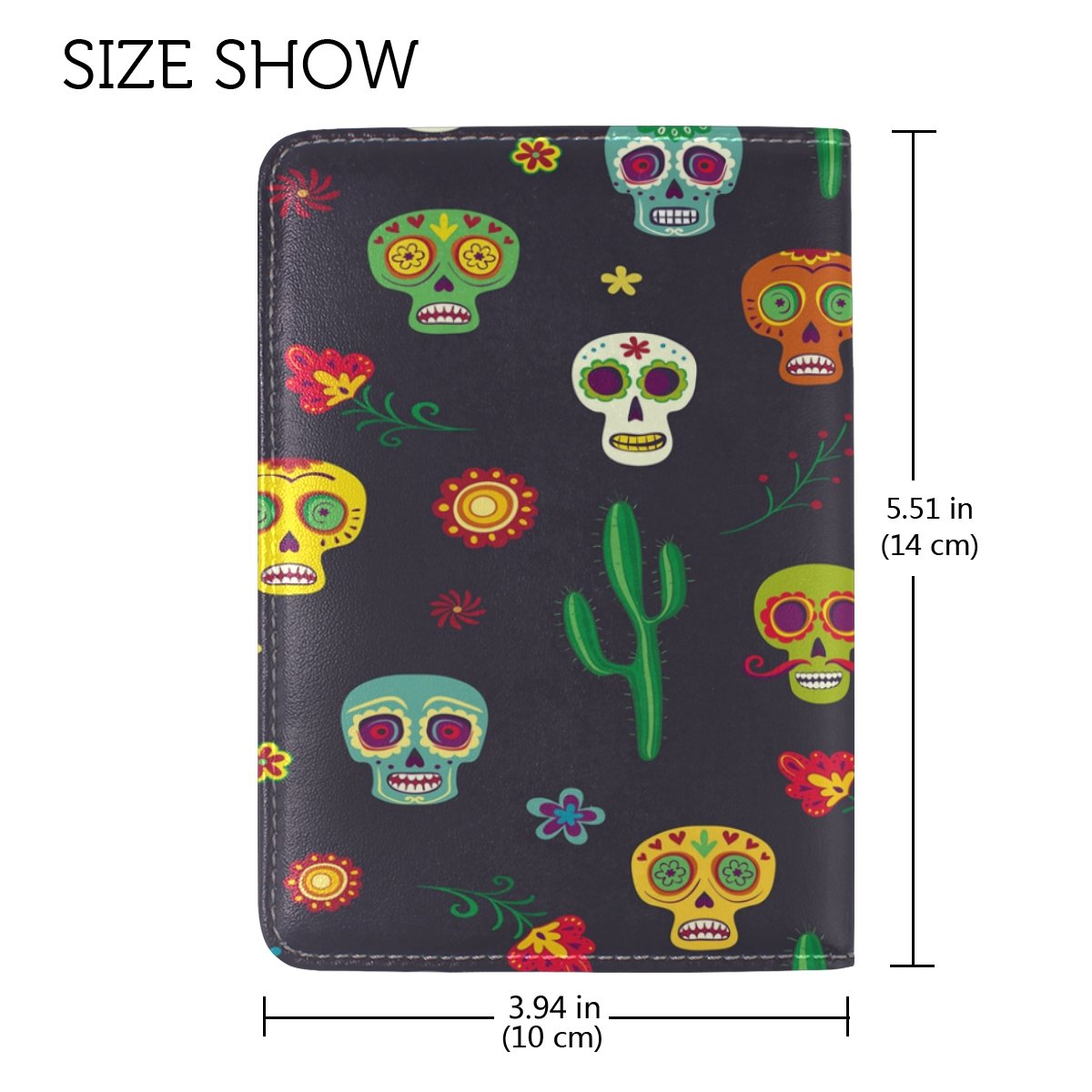 ALAZA Cactus Mexican Sugar Skull PU Leather Passport Holder Cover Case Travel One Pocket