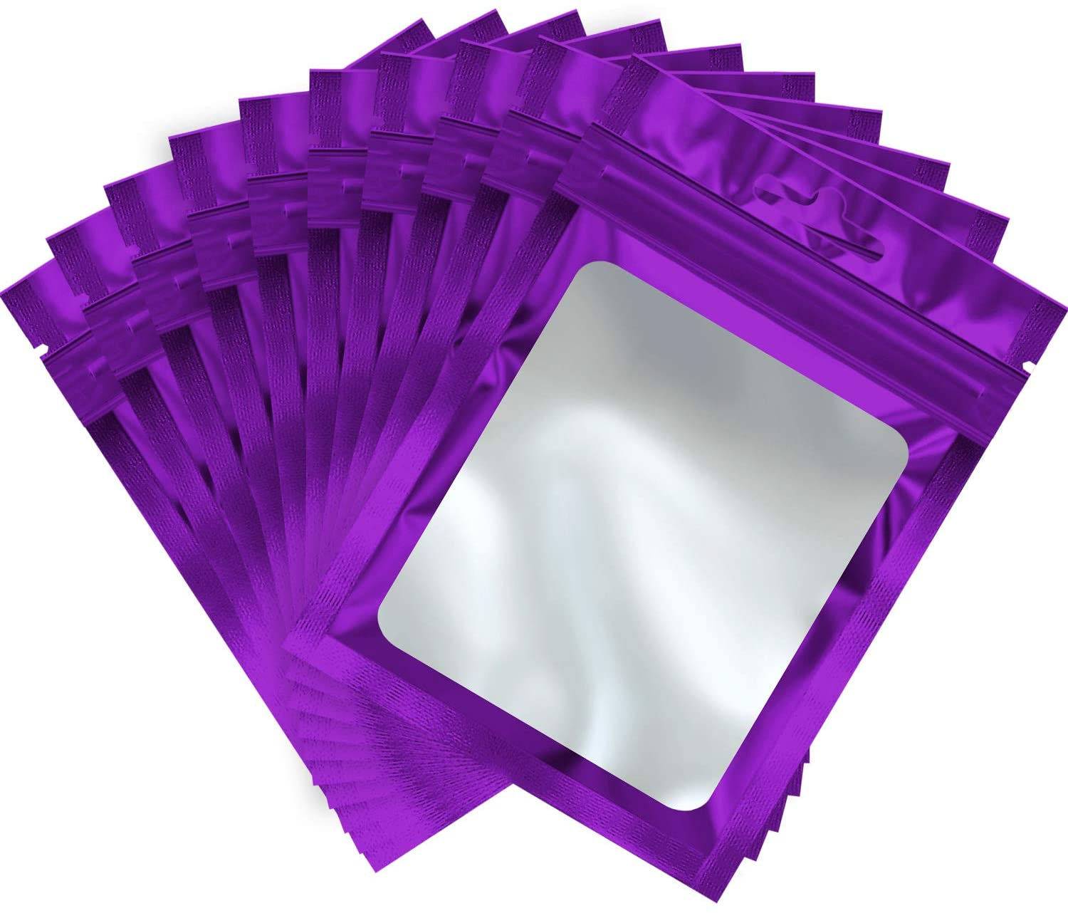 100 Pieces Resealable Mylar Ziplock Food Storage Bags with Clear Window Coffee Beans Packaging Pouch for Food Self Sealing Storage Supplies (Purple, 5.1 x 8.3 Inch)