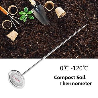 cuigu suelo Termómetro, 50 cm Premium Compost de suelo Termómetro de acero inoxidable para jardín Hinterhof 0 ℃ de 120 ℃, longitud 50 cm: Amazon.es: Industria, empresas y ciencia