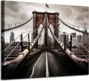 "NYC Brooklyn Bridge Picture Artwork: New York Scene Graphic Art Painting on Canvas Wall Art for Office(36""x24""x1 Panel)"