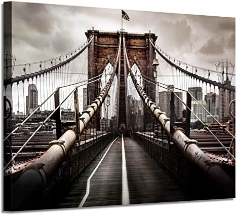 Amazon Com Nyc Brooklyn Bridge Picture Artwork New York Scene Graphic Art Painting On Canvas Wall Art For Office 36 W X 24 H Multi Sized Posters Prints