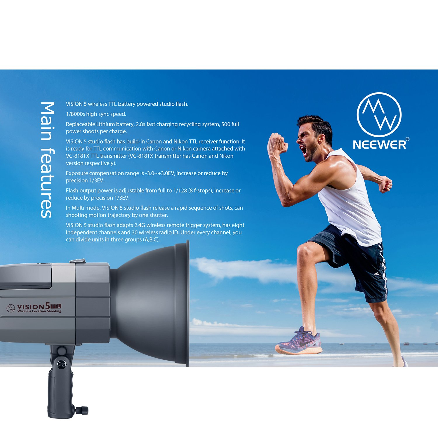 Neewer Vision5 400W TTL for NIKON HSS Outdoor Studio Flash Strobe with 2.4G System and Wireless Trigger,2 Packs Li-ion Battery(up to 500 Full Power Flashes),German Engineered,3.96 Pounds,Bowens Mount by Neewer (Image #2)