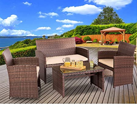 SUNCROWN Outdoor Furniture 4-Piece Conversation Set with Glass Top Table All-Weather Wicker and Thick Cushions with Washable Covers, Brown