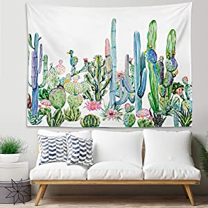 YINUO Cactus Tapestry,Colorful Watercolor Printed Succulent Plants Tropical Landscape Wall Hanging,59