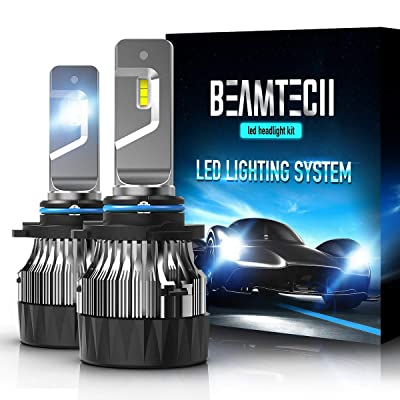 BEAMTECH 9006 LED Headlight Bulbs,30mm Heatsink Base CSP Chips 10000 Lumens HB4 6500K Xenon White Extremely Super Bright Conversion Kit of 2: Automotive