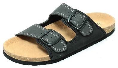 Herren Bio Clogs Tieffußbett Pantolette Sandale Slipper Schuhe SCHWARZ GRAU Gr.41-45 (44) ViFkR6cP
