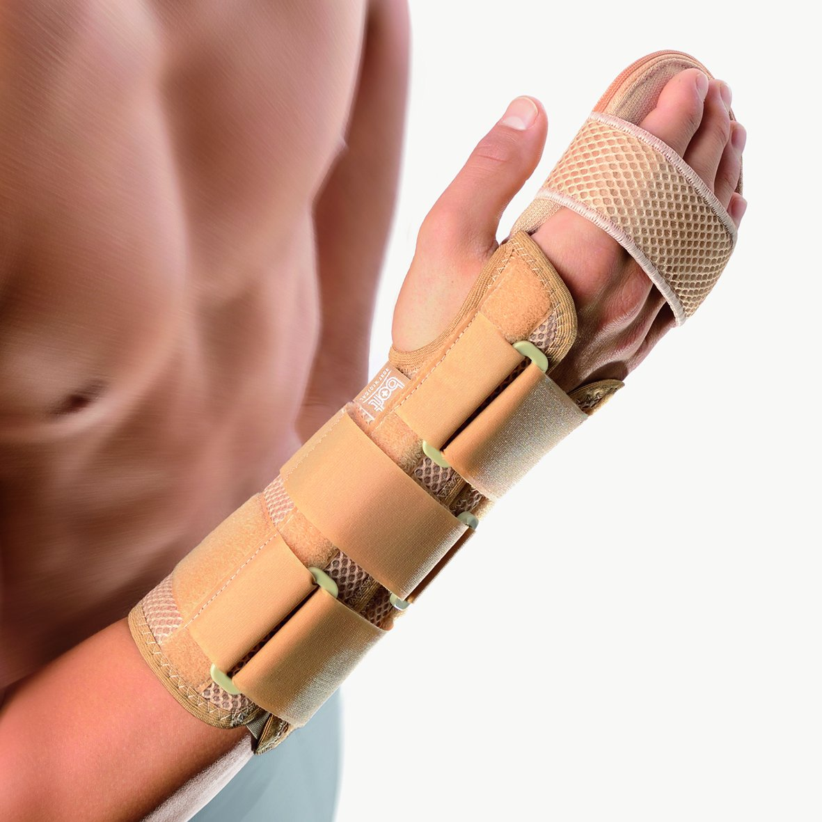 Bort Soft Hand Splint Brace Finger Support Carpal Tunnel Night Wrist Splint Immobilizer Finger Wrist Fracture Tendinitis Sprain Medical Grade Made in Germany (Beige, Medium, Right 6.7'' - 7.5'' inches)