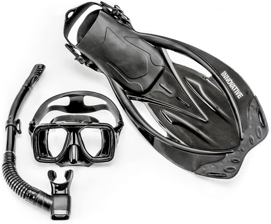 Innovative Scuba Concepts MSF4612 REEF, Adult Snorkel Set, Mask, Fins, Snorkel and Bag