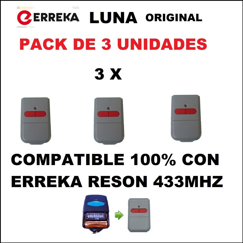 PACK 3 x MANDO GARAJE ORIGINAL ERREKA LUNA, 2 canales, 433MHZ, COMPATIBLE CON ERREKA RESON (ATENCIÓN!!! LEER BIEN TODA LA DESCRIPCIÓN DEL ARTÍCULO)