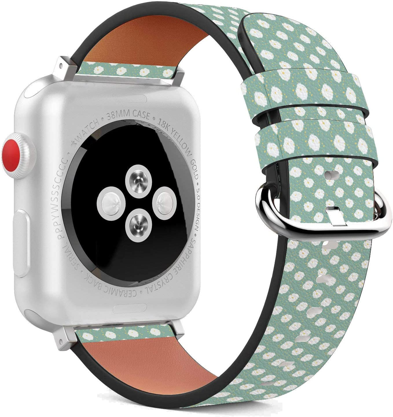 Compatible with Apple Watch - 38mm / 40mm (Serie 5,4,3,2,1) Leather Wristband Bracelet with Stainless Steel Clasp and Adapters - Snowball Polka Dot