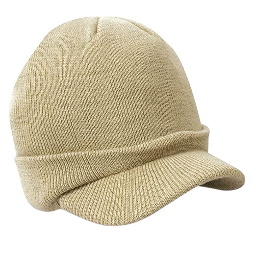 Funbase Winter Warm Wooly Unisex Peaked Cap Army Style Beanie Hat Beige 9298c6f3679