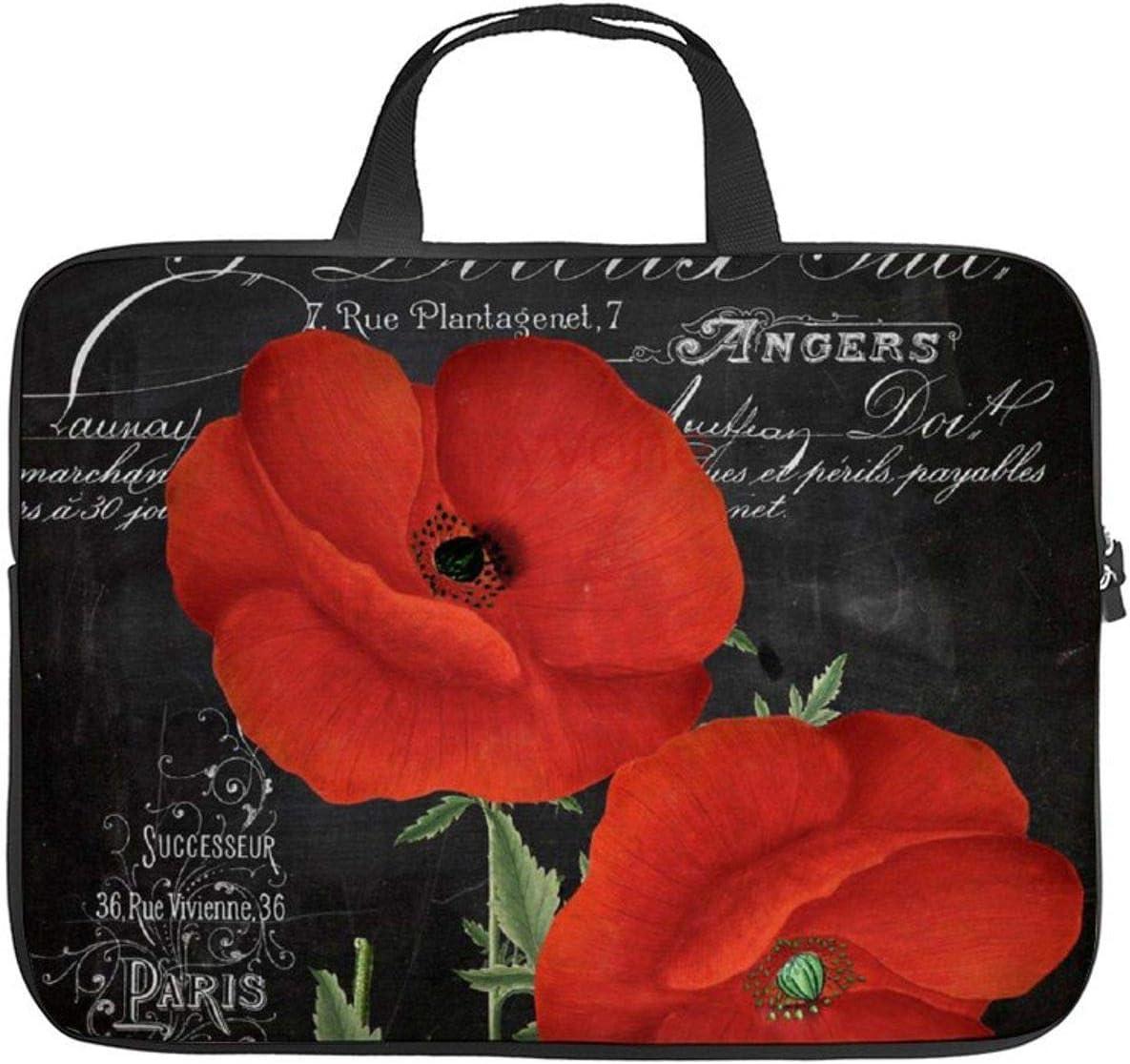 "Neoprene Sleeve Laptop Handbag Case Cover Fleur Du Jour Poppy 10 Inch Laptop Sleeve Case for 9.7"" 10.5"" Ipad Pro Air/ 10"" Microsoft Surface Go/ 10.5"" Samsung Galaxy Tab"