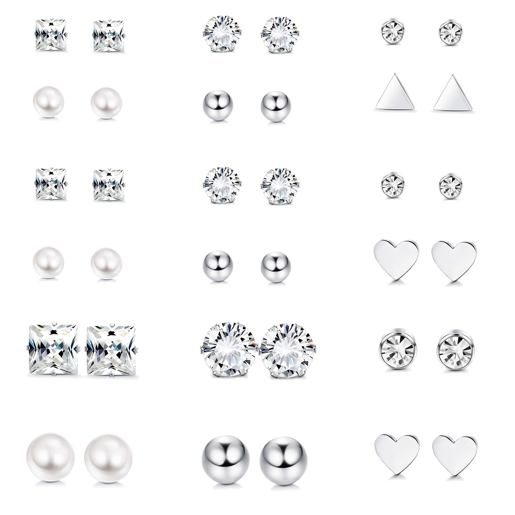 Thunaraz 12Pairs Surgical Steel Stud Earring Set Fake Pearl Earring Ball Triangle Heart CZ Earring Kit (18Pairs)