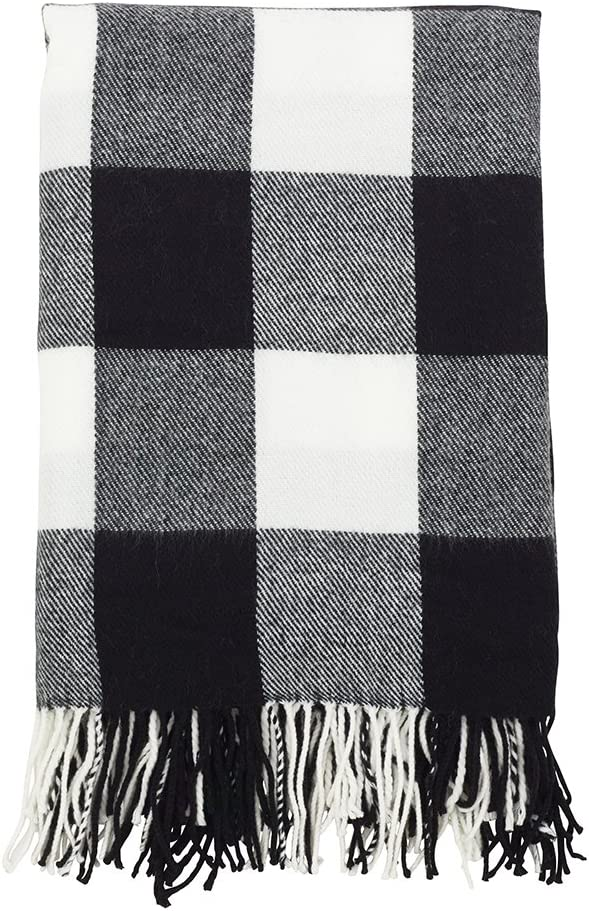 Fennco Styles Buffalo Plaid Collection Modern Tassel 50 x 60 Inch Throw - Black Throw Blanket for Banquets, Christmas, Special Events and Home Décor